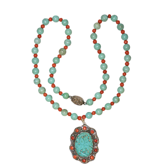 Vintage Chinese silver Carved Tulip Turquoise Salmon Red Coral Beaded Pendant Necklace