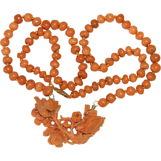 Art Deco 14K Gold Carved Mediterranean Salmon Red Coral Bird Flower Pendant with Coral beaded Necklace