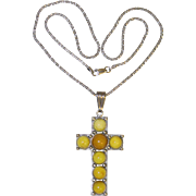 Vintage Sterling Silver Baltic Butterscotch Amber Cross Pendant Chain Necklace