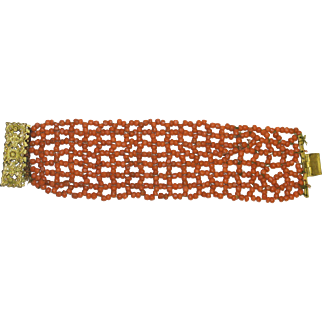 """Antique Victorian 2"""" Wide Gold Gilded Floral Metal Repousse Mediterranean Deep Salmon Tomato Red Woven Coral Bracelet Weight 38 Grams"""
