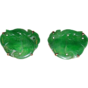 Antique Art Deco Chinese 14K Yellow Gold Carved Rich Emerald Green Jadeite Jade Peach Earrings with Screw Backs