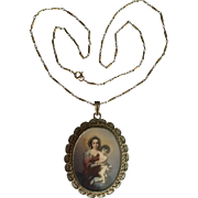 Antique Victorian Gold Gilt 800 Silver Filigree Painted Pendant Lady Holding a Bady Child Great Details