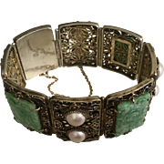 Art Deco Chinese Gold Gilded Silver Filigree Enamel Carved Apple Green Jadeite Jade and Pearls Floral Hinged Bracelet