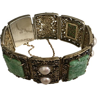 Art Deco Chinese Gold Gilded Silver Filigree Enamel Carved Apple Green Jadeite Jade and Pearls Floral Hinged Bracelet