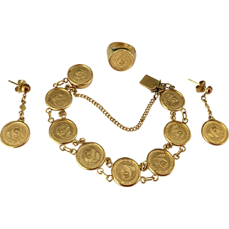 A Set of Chinese 24K Pure Gold Coin 1988 Panda Bracelet, Earrings, Ring Set Total 1.422 oz or 40.35 Grams