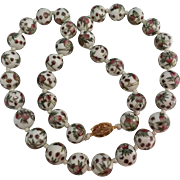 Vintage Chinese Painted Famille Rose Round 14 mm Porcelain Beads Knotted Necklace