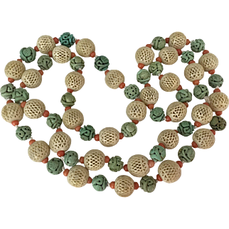 Antique Victorian Chinese Carved Turquoise, Bone and Salmon Red Coral Knotted Necklace 33 Inch Long