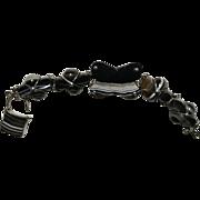 Antique Victorian Scottish Banded Agate Bracelet with Padlock