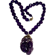 Vintage 14K Yellow Gold Carved Amethyst Pendant and Faceted Amethyst Bead Necklace