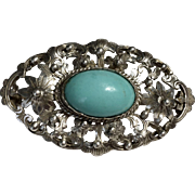 Antique Art Nouveau Silver Repousse Natural Blue Turquoise Brooch Pin