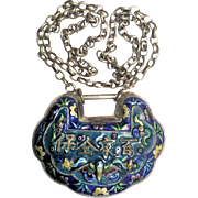 Antique Chinese Silver Enamel Lock Pendant Necklace