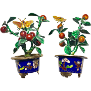 A Pair of 2 Vintage Chinese Cloisonne Enameled Metal Miniature Small Bonsai Planters with Butterfly Pomegranate Decorative