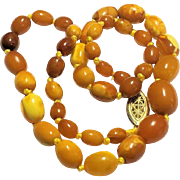 Antique Baltic Natural Butterscotch Amber Bead Knotted Necklace 13 Grams