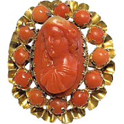 Vintage 14K Yellow Gold Carved Deep Mediterranean Salmon Red Coral Cameo Brooch Weight 9.5 Grams