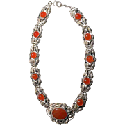 Antique Art Neoveau German Sterling Silver Repousse Floral Links with Carnelian Agate Pendant Choker Necklace