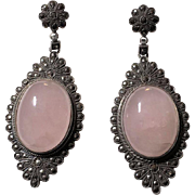Stunning Art Deco Sterling Silver Marcasite Paved Rose Quartz Dangling Earrings with Posts