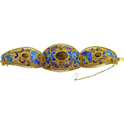 Vintage Chinese Gold Gilded Silver Filigree Enamel Tiger Eye Floral Hinged Bracelet