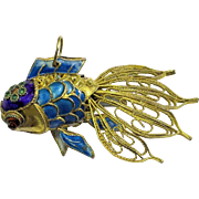 Large Vintage Chinese Gold Gilt Silver Filigree Enamel Koi Fish Pendant