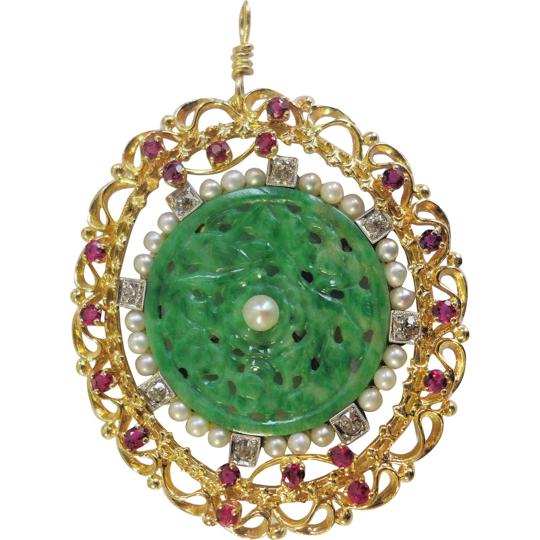 Stunning Large Antique Art Deco Chinese 14K Yellow Gold Carved Rich Apple Green Jadeite Jade Diamond Ruby Pearl Pendant Weighs 20.5 Grams