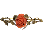 Antique Art Nouveau Gold Gilded Silver Carved Mediterranean Salmon Red Coral Rose Flower Brooch