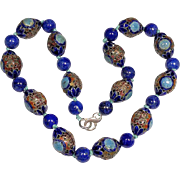 Vintage Chinese Enameled Silver Bead and Lapis Lazuli Bead Knotted Necklace with Sterling Silver Clasp