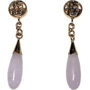 Very Small Vintage Chinese 14K Yellow Gold Lavender Jadeite Jade Earrings with Posts