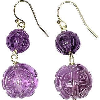 Vintage Chinese 14K Gold Carved Amethyst Earrings with Wires, Crouching Dragon, Chinese Sho Symbols and Flower Floral Scene