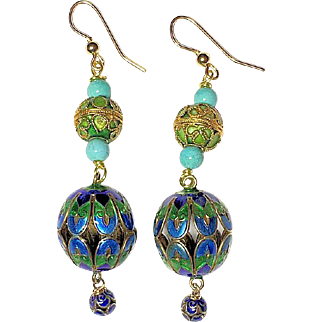 Vintage Chinese Silver Enamel Turquoise Beaded Dangling Earrings with 14K Gold Filled Wires