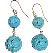 Vintage Chinese 14K Yellow Gold Carved Turquoise Beaded Dangling Earrings with Dragon Sho Symbol Weighs 8.6 Grams
