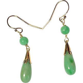 Pair of Small Vintage Chinese 14K Yellow Gold Apple Green Jadeite Jade Drops Dangling Earrings