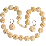 Lovely Antique Large Chinese Carved Bone Choker Necklace and Earrings Set