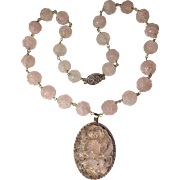 Art Deco Chinese Gold Gilded Silver Carved Rose Quartz Pendant and Carved Rose Quartz Beads Pendant Necklace