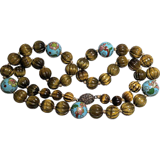 Vintage Chinese Gilded Silver Filigree Clasp Carved Tiger Eye and Cloisonne Beaded and Knotted Necklace