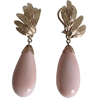 Stunning Pair of Very Large Vintage 14K Yellow Gold Angel Skin Pink Coral Drop Earrings with Omega Posts Substantial Weight at  21.2 Grams