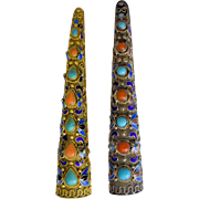 Pair (2) of Vintage Chinese Silver and Gold Gilt Silver Filigree Enamel Red Coral Turquoise Floral Fingernail Guard Brooch