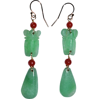 Vintage Chinese 14K Gold Rich Apple Green Jadeite and Oxblood Red Coral Cicada Dangling Ears with Wires