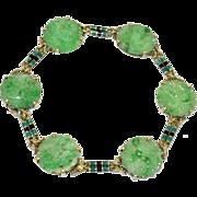 Antique Art Nouveau French Enameled 14K Yellow Gold Enamel Chinese Carved Apple Green Jadeite Jade Link Bracelet