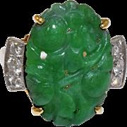 Antique Art Nouveau 14K Yellow Gold Diamond Carved Rich Emerald Apple Green Jadeite Jade Ring