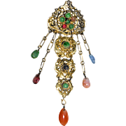 Enchanting Art Deco Chinese Gold Gilded Silver Tourmaline Jadeite Jade Carnelian Brooch Pin with Charms Fully Marked