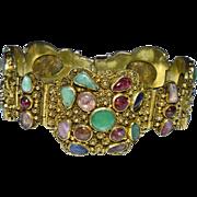 Enchanting Art Deco Chinese Gold Gilded Silver Filigree Green Jadeite Jade Blue Pink Fuchsia Red Tourmaline Hinged Bracelet