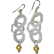 Antique Chinese 14K Gold Triple Loop Devil's Work Carved White Jade Earrings with 14K Gold Etruscan Bead