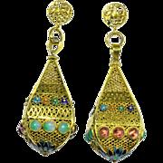 Large Vintage Chinese 14K Yellow Gold Enamel Apple Green Jadeite Jade Pink Tourmaline Dangling Earrings with Posts