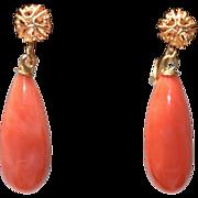 Vintage 14K yellow Gold Momo Salmon Red Coral Drop Earrings 5.58 Grams