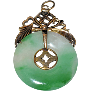 Vintage Chinese 14K Yellow Gold Carved Apple Green Jadeite Jade Donut Shape Pendant