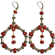 Large Gold Vermeil Sterling Silver Carved Faceted Victorian Sardinian Red Coral Earrings with 14K Yellow Gold Lever Backs 26.7 Grams