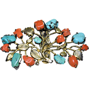 Vintage Chinese Gold Gilded Gilt Silver Salmon Red Coral and Turquoise Floral foliage Clip Pin Marked