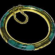 Vintage Chinese Gold Gilt Sterling Silver Malachite Hinged Bangle Bracelet