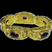 Vintage Chinese Gold Gilt Silver Filigree Amethyst Hinged Bracelet with Floral Flower and Sho Symbol Scene