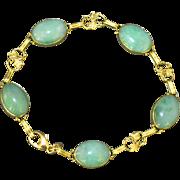 Antique Art Nouveau 14K Yellow Gold Apple Green Jadeite Jade Linked Maple Leaf Foliage Bracelet