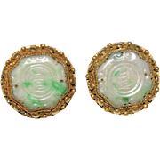 Pair of Vintage Chinese Gold Gilt Silver Filigree Carved Apple Green Jadeite Jade Earrings with Clips